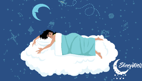 Lady on Cloud Mattress Sleeping with Pillow