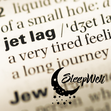 Jet Lag definition in dictionary with Sleep Well logo