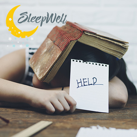 Child with HELP sign showing need of help to get more sleep