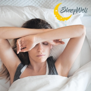 Woman stressing on mattress in bed