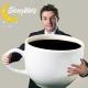 Man with large coffee mug with sleep well logo